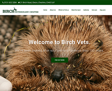 Birch Vets website, vets website, Wirral web design by Bees Words and Websites