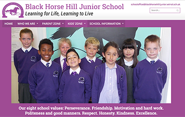 Black Horse Hill Junior School website by Bees Words and Websites, business website design, school website design, Wirral website design
