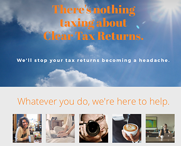 Clear Tax Returns website, Business website design by Bees Words and Websites