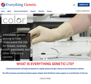 Everything Genetic website  by Bees Words and Websites, business website design, Wirral website design