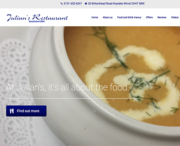 Restaurant website, website design Wirral, Julian's Restaurant Hoylake, by Bees Words and Websites