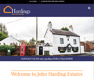John Harding Estates website, Wirral web design by Bees Words and Website